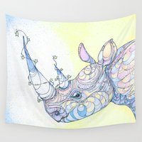 rhino Wall Tapestries featuring Rhino by Kate Fitzpatrick