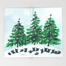 Veneto Whimsical Cats and Trees Throw Blanket