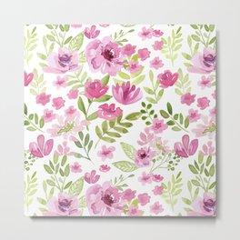 Watercolor/Ink Sweet Pink Floral Painting Metal Print