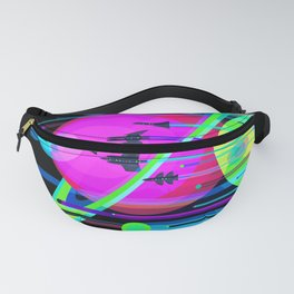 NASA Outer Space Saturn Shuttle Retro Poster Futuristic Explorer Black Best Quality Fanny Pack