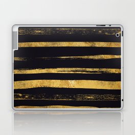 Glam Gold and Black Hand Painted Stripes Laptop & iPad Skin