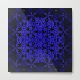 Deep Blue Delicate Flowers Metal Print
