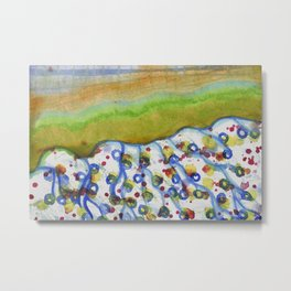 Curved Hill with Blue Rings Metal Print