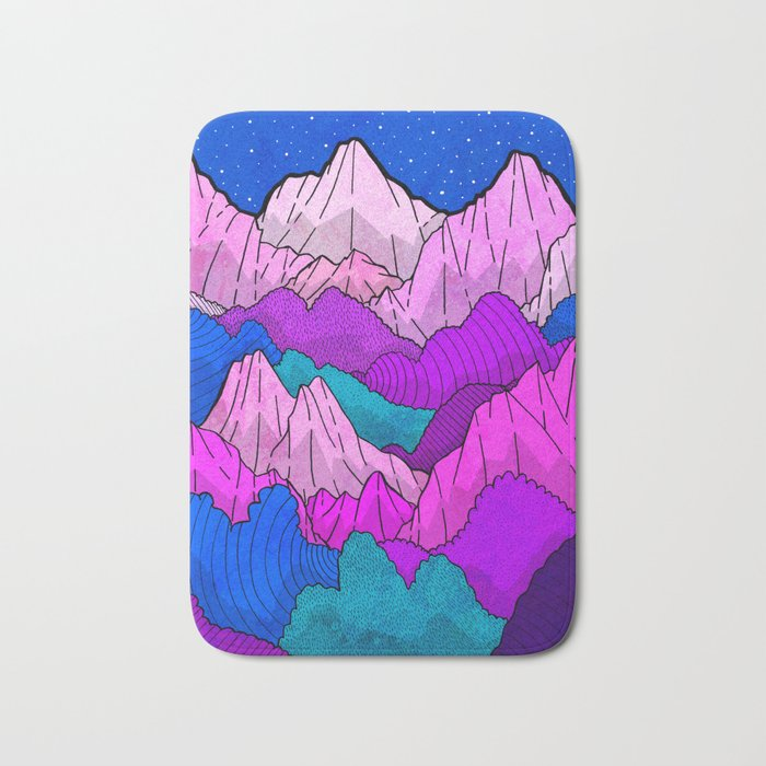 The night time hills Bath Mat