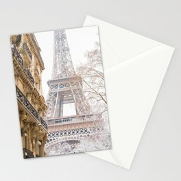 Paris Eiffel Tower in Snow Stationery Cards