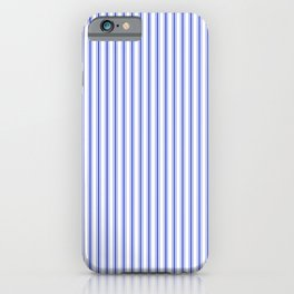 Small Vertical Cobalt Blue and White French Mattress Ticking Stripes iPhone Case