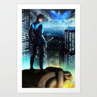 nightwing Art Prints featuring Nightwing by Cielo+