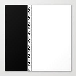 Greek Key 2 - White and Black Canvas Print