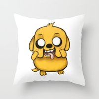 jake Throw Pillows featuring Jake  by Kam-Fox