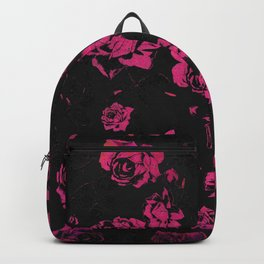 Girly Pink Rustic Floral Roses and Black Pattern Backpack