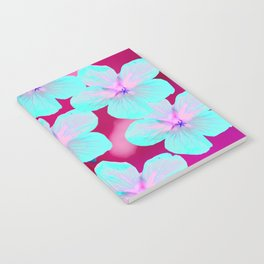 Turquoise Retro Flowers On Pink Background #decor #society6 Notebook