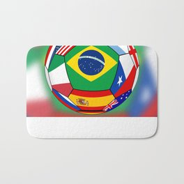 Ball With Various Flags Bath Mat