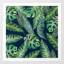Jungle Leaves, Banana, Monstera, Blue by wheimay