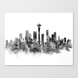 Seattle Black and White Canvas Print