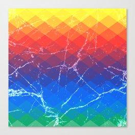 Grunge rainbow rombs Canvas Print