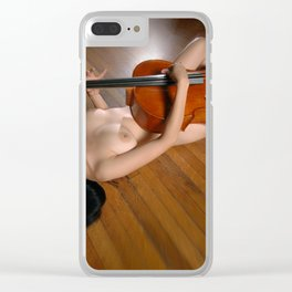 0149-JC Nude Cellist with Her Cello and Bow Naked Young Woman Musician Art Sexy Erotic Sweet Sensual Clear iPhone Case