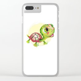Painted Turtle with Butterflies Clear iPhone Case