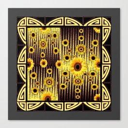 ART DECO GOLDEN SUNFLOWERS DARK GREY-BLACK Canvas Print