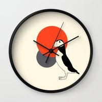 puffin Wall Clocks featuring Puffin by Rebekhaart