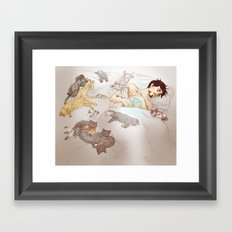 A PILE OF KITTENS Framed Art Print