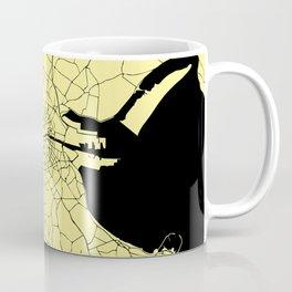 Yellow on Black Dublin Street Map Coffee Mug