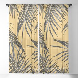 Black Palm Leaves Dream #6 #tropical #decor #art #society6 Sheer Curtain