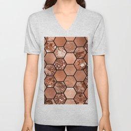 Rose gold hexaglam Unisex V-Neck