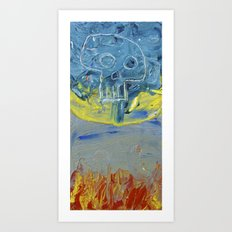 Fire Skull Art Print