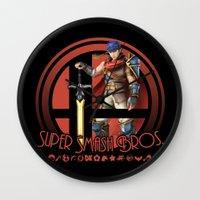 super smash bros Wall Clocks featuring Ike - Super Smash Bros. by Donkey Inferno