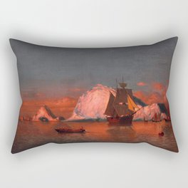 Fishing off the coast of Labrador by William Bradford - Hudson River School Vintage Painting Rectangular Pillow
