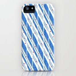 Candy Cane Blue Stripes Holiday Pattern iPhone Case