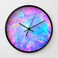 nebula Wall Clocks featuring Orion nebulA : Bright Pink & Aqua by 2sweet4words Designs