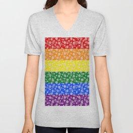 Christmas Pride Bright Festive Rainbow Snowflakes Unisex V-Neck