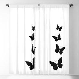 Black Butterflies Ink Art Blackout Curtain