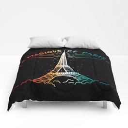 Le Magique De Paris (the magic of...) French Artwork, Eiffel Tower Print Comforters