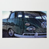 vw Area & Throw Rugs featuring vintage vw by Joedunnz
