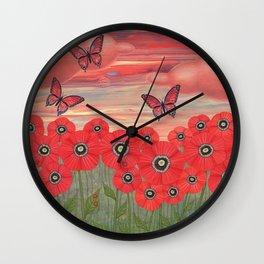 poppy garden dreams Wall Clock