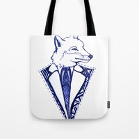 mr fox Tote Bags featuring MR. FOX by Sagara Hirsch