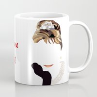 audrey Mugs featuring Audrey by Bethany Mallick