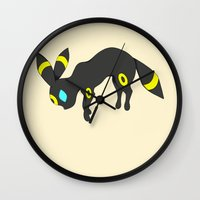 umbreon Wall Clocks featuring Umbreon by Ria Pi