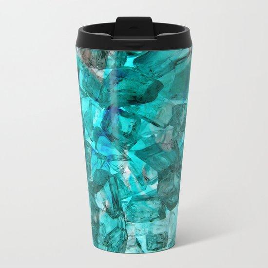 Turquoise Glass Chrystal Abstract Metal Travel Mug