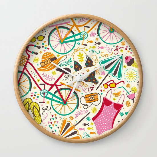 Seaside Cycle Wall Clock
