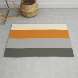 Minimal Abstract Vintage Cream Orange Grey 15 Rug