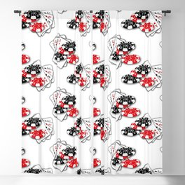 Playing Cards and Casino Chips on White Blackout Curtain