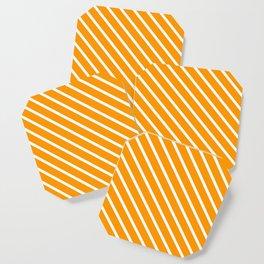 Neon Orange Diagonal Stripes Coaster