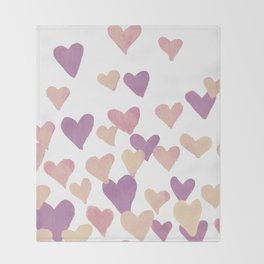Valentine's Day Watercolor Hearts - pastel pink Throw Blanket