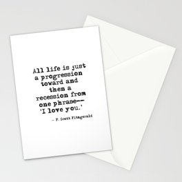 One phrase - I love you - F Scott Fitzgerald quote Stationery Cards