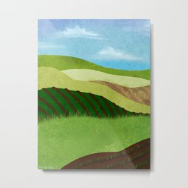 Fields And Farms Under A Summer Sky Metal Print
