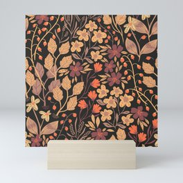 Autumn Brown and Orange Ditsy Floral Leaves and Flowers Mini Art Print