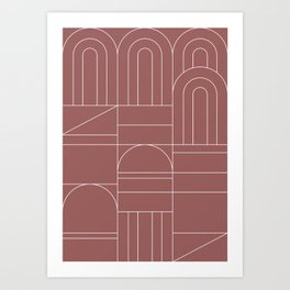 Deco Geometric 04 Dark Pink Art Print